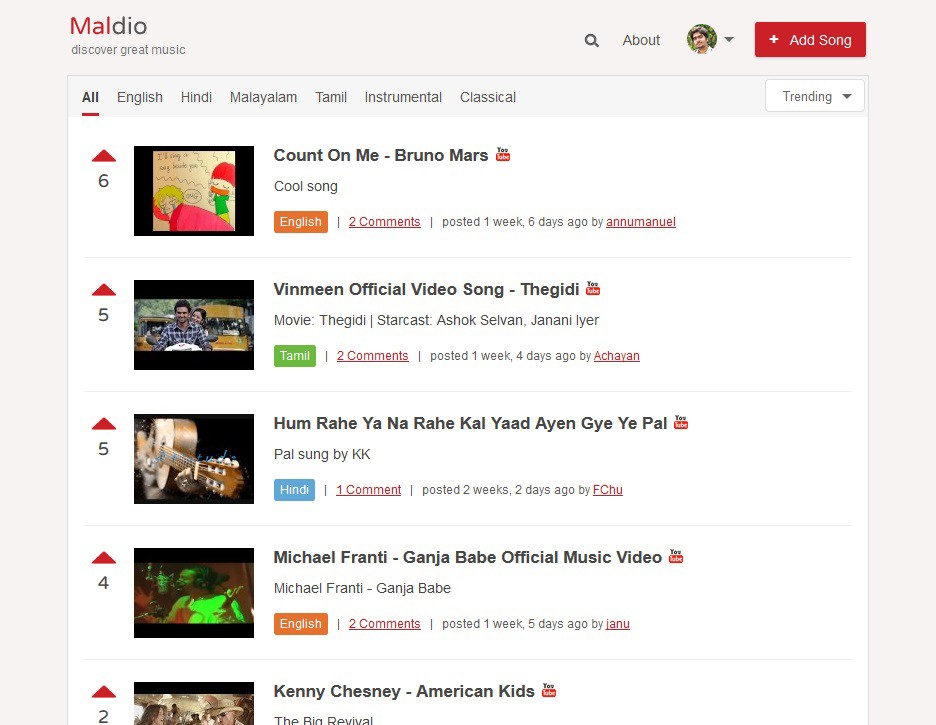 Maldio categorizes songs based on Language for now